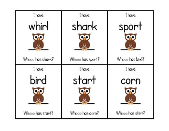 """I Have Who Has"" R Conrolled Vowels"