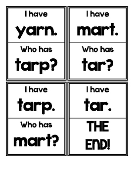I Have. Who Has? GAME (R Controlled Vowel-AR)