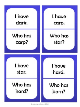 I Have, Who Has: R-Controlled Vowel /ar/