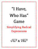 """""""I Have, Who Has"""" Radicals with Variable Expressions Game"""
