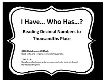 I Have Who Has (Read Decimals)
