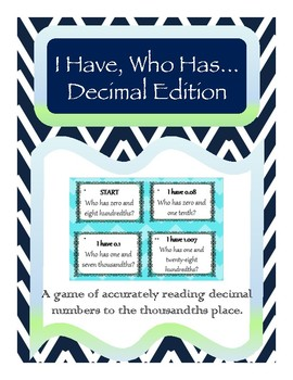 I Have Who Has Reading Decimal Numbers Game *Differentiated for 3 Levels!