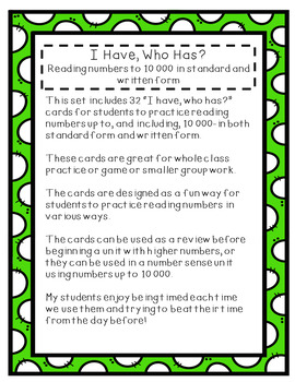 I Have, Who Has? Reading numbers to 10 000 in standard and written form.