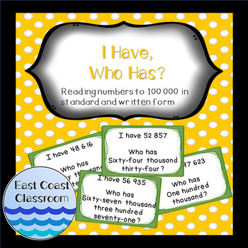 I Have, Who Has? Reading numbers to 100 000 in standard and written form
