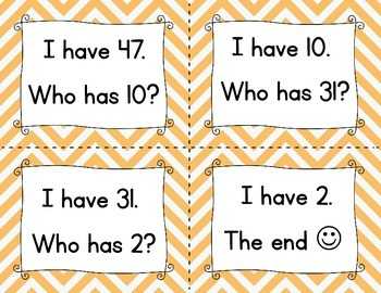 I Have, Who Has? Recognizing Numbers Game