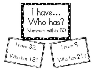 I Have, Who Has?  Recognizing Numbers within 50