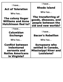 """""""I Have..., Who Has...?"""" Review - Exploration and Colonization"""