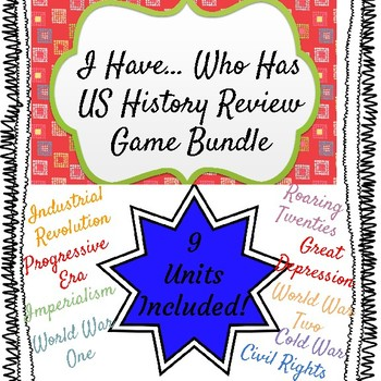 I Have Who Has Review Game Bundle US History 9 Units