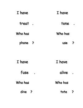 I Have, Who Has...? Rhyming Long Vowel Word Reading set