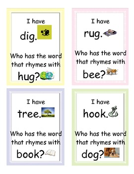 I Have Who Has Rhyming words with pictures