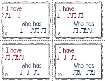 I Have, Who Has Rhythm Game: Ti Tom (Eighth Note / Dotted Quarter Note)