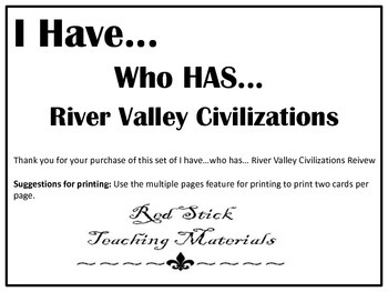 I Have..Who Has.. River Valley Civilizations