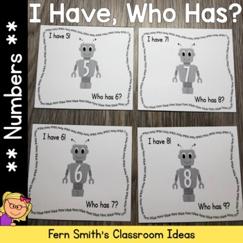 I Have, Who Has? Robot Numbers 1-25 Cards