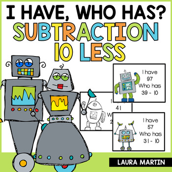 I Have, Who Has Game-Subtraction (10 Less)