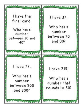 FREEBIE I Have Who Has Rounding Game CC 3.NBT.A.1 and CC  4.NBT.A.3