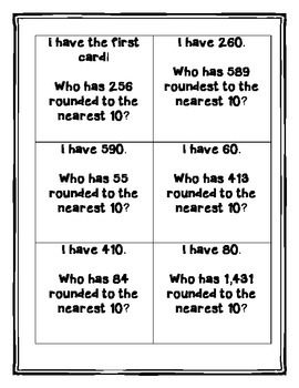 I Have Who Has Rounding and Place Value Game Set
