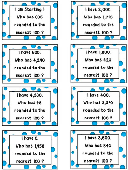Place Value Game-I Have, Who Has Rounding to the Nearest 100 (3 and 4 digits)