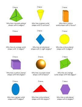 Shapes Game - I Have, Who Has?