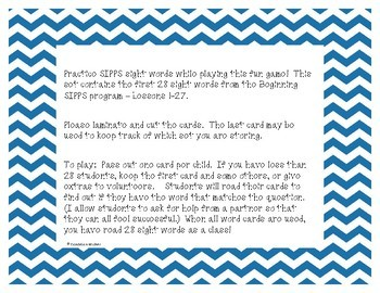 Sight Words I Have Who Has SIPPS Game - Set 1