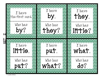 Sight Words I Have Who Has SIPPS Game - Set 2