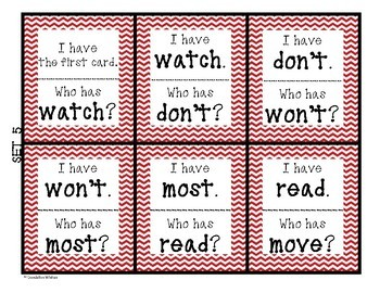 Sight Words I Have Who Has SIPPS Game - Set 5