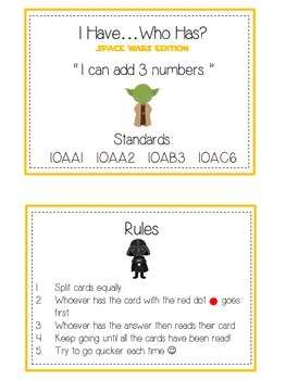 I Have Who Has - SPACE WARS - Adding 3 Digit Numbers