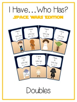 I Have Who Has - SPACE WARS Math Folder Game Adding Doubles  Common Core Aligned
