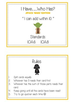 I Have Who Has - SPACE WARS - Math Folder Game Adding to 10  Common Core Aligned