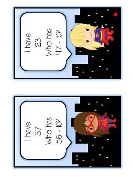 I Have Who Has - SUPERHERO GIRLS - Ten More Ten Less - Math Folder Game
