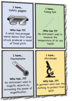 I Have...Who Has...? - Science Tools