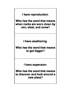 I Have, Who Has Science Vocabulary Game 3-4