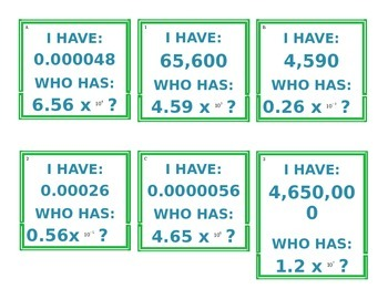 I Have.. Who Has... Scientific Notation to Standard Form Game