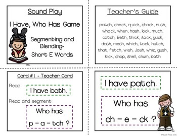 I Have, Who Has? Segmenting/Blending Big Bundle (Short Vowels, Digraphs, Blends)