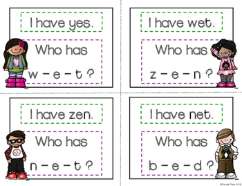 I Have, Who Has? - Segmenting and Blending Short E Words