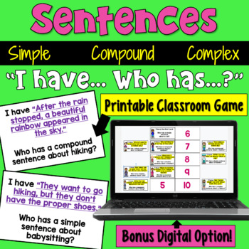 Simple, Compound, and Complex Sentences: I Have Who Has Game
