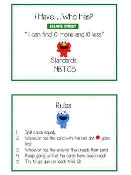 I Have Who Has - Sesame Street - Ten More Ten Less - Math Folder Game
