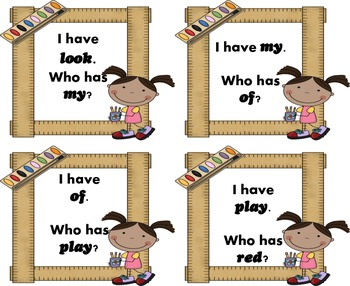 I Have, Who Has?  Set 1 Dolch Sight Words