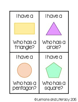 """I Have, Who Has"" Shapes Game for Small Groups"