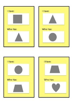 I Have, Who Has Shapes, Numbers, Colors, and Classmates!