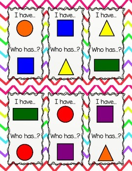 I Have Who Has Shapes and Colors