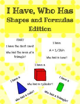I Have Who Has Shapes and Formulas