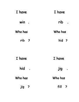 I Have, Who Has...? Short Vowel I Word Reading set