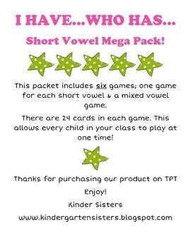 I Have Who Has - Short Vowel Mega Pack