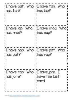 I Have, Who Has?  Short Vowel Pack