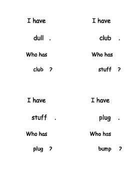 I Have, Who Has...? Short Vowel U Word Reading set