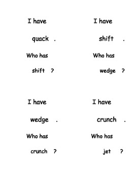 I Have, Who Has...? Short Vowel Words Review AEIOU Reading set