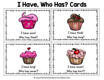 I Have Who Has Game Sight Words 3rd Grade - St Valentine's Day Cupcakes