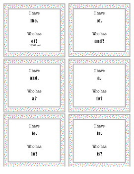 I Have, Who Has Sight Word Game 1