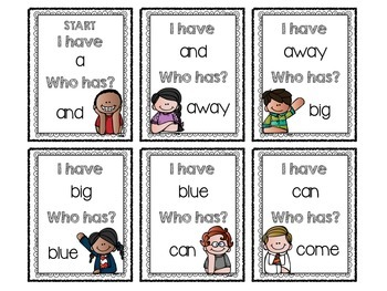 """""""I Have, Who Has?"""" Sight Word Game (Dolch Pre-Primer)"""