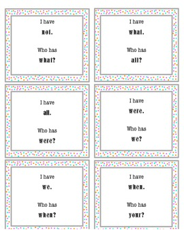 I Have, Who Has Sight Word Game 2